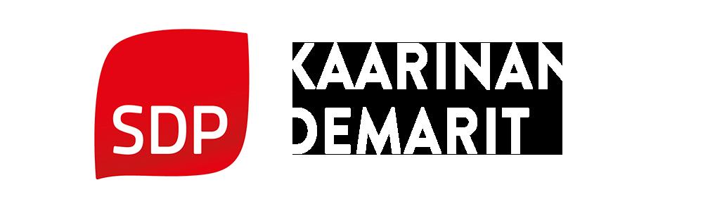 Logo_Kaarinan_demarit punaiselle taustalle